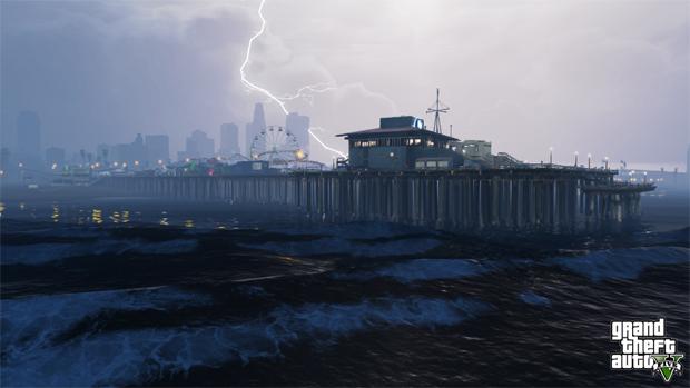 Raios cortam o céu da cidade de GTA V. (Foto: Divulgação) (Foto: Raios cortam o céu da cidade de GTA V. (Foto: Divulgação))