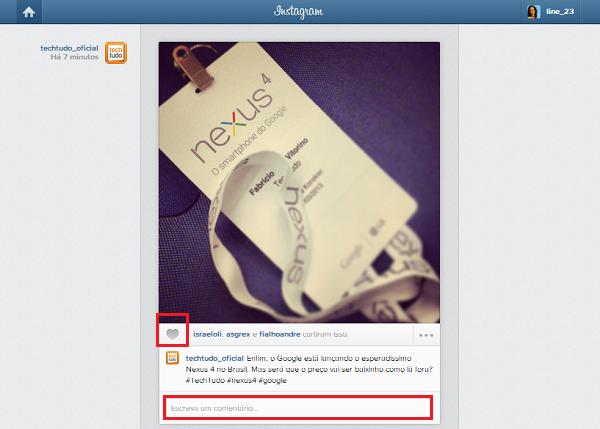 Curtindo e comentando uma foto no Instagram (Foto: Aline Jesus/Reprodução)