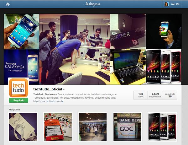 Acessando um perfil no Instagram (Foto: Aline Jesus/Reprodução)
