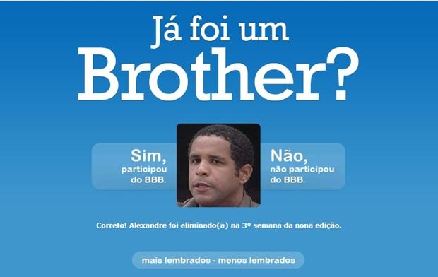 """Tela do """"Já foi um Brother?"""" (Foto: Reprodução/ Raquel Freire)"""