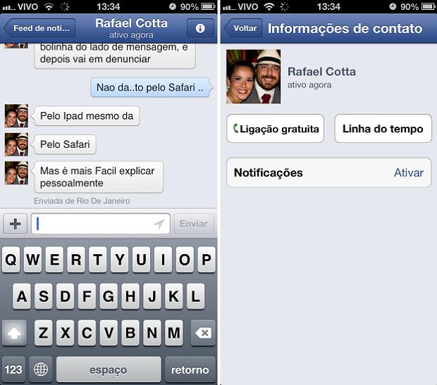 Ligação pode ser feita no app do Facebook (Foto: Thiago Barros/TechTudo)