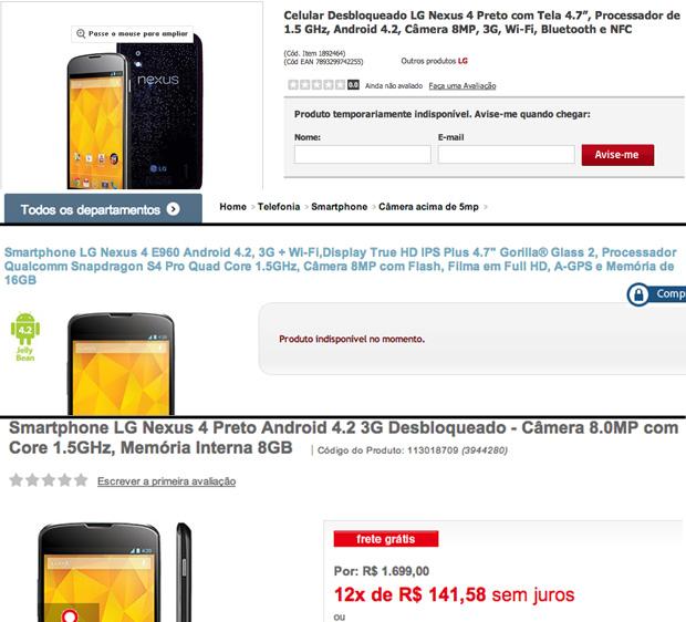 """Nexus já aparece como """"produto indisponível"""" em duas das três lojas em que está sendo vendido (Foto: Divulgação)"""