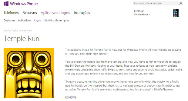 Temple Run chegou ao Windows Phone (Foto: Reprodução/Windows Phone Store)
