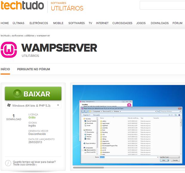 Baixando o WampServer no TechTudo (Foto: Reprodução/Edivaldo Brito) (Foto: Baixando o WampServer no TechTudo (Foto: Reprodução/Edivaldo Brito))