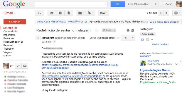 E-mail do Instagram com o link para redefinir senha (Foto: Reprodução)