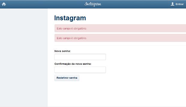 Área de redefinição de senha no site do Instagram (Foto: Reprodução)