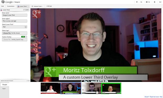 Visual do hangout fica bem diferente com o aplicativo (Foto: Reprodução Google+)