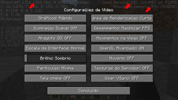 Configuração de vídeo do Minecraft modificada (Foto: Reprodução/Silas Tailer)