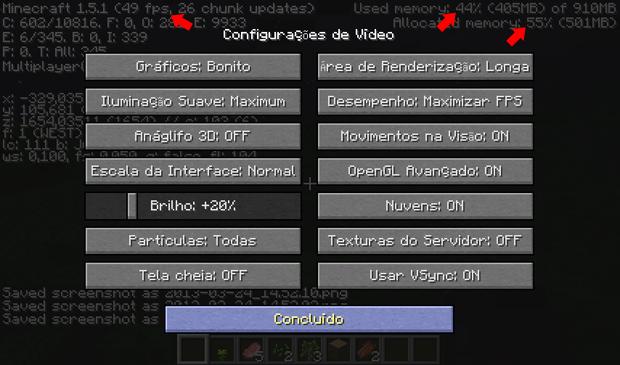Configuração de vídeo padrão recomendada pelo Minecraft (Foto: Reprodução/Silas Tailer)