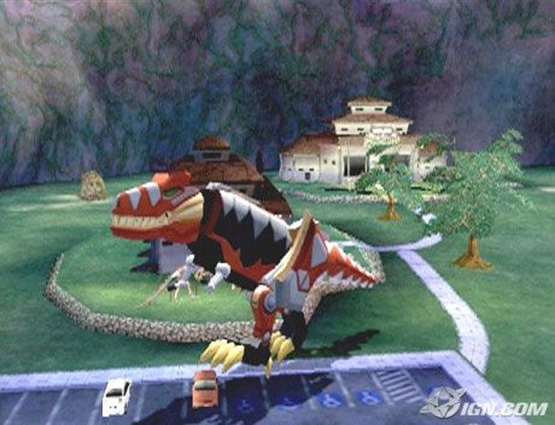 Era possível controlar apenas os Zords em Dino Thunder (Foto: Reprodução/IGN)