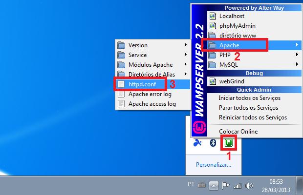 Acessando o arquivo de configuração do Apache (Foto: Reprodução/Edivaldo Brito)
