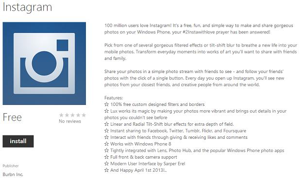 Finalmente Instagram para Windows Phone (Foto: Reprodução/Windows Phone)