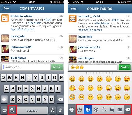 Inserindo emoticon no Instagram (Foto: Aline Jesus/Reprodução)