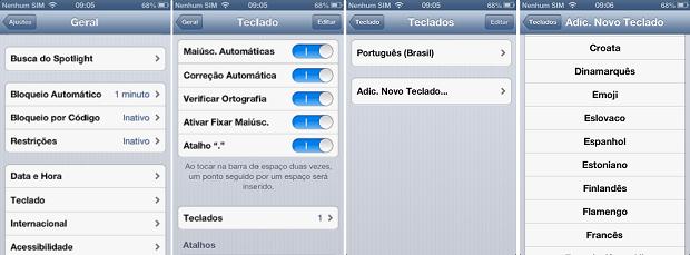 Ativando emoticons no teclado do iPhone ou iPad (Foto: Aline Jesus/Reprodução)