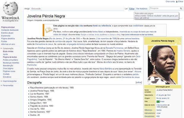 Página da Wikipédia antes da edição (Foto: Raquel Freire)