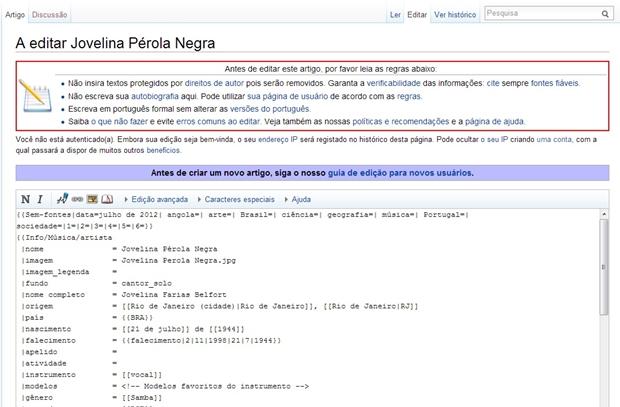 """Aba """"Editar Artigo"""" da Wikipédia (Foto: Raquel Freire)"""