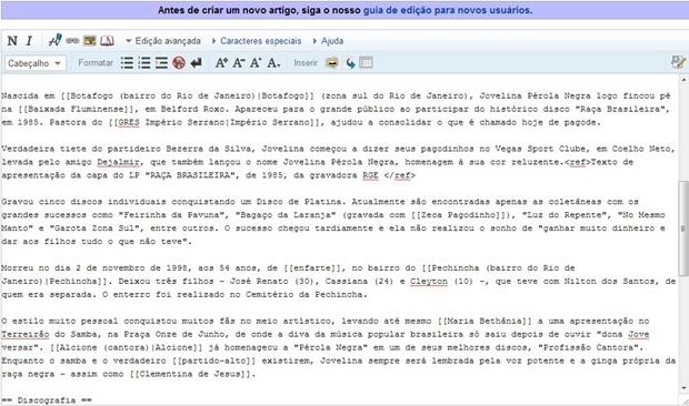 Parte de edição de texto da Wikipédia (Foto: Raquel Freire)