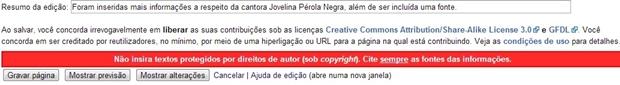 """Campo """"Resumo da Edição"""" com exemplo de descrição (Foto: Raquel Freire)"""