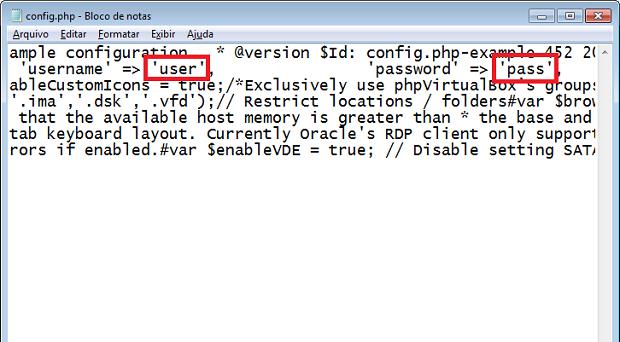 Colocando o usuário e a senha que serão usados pelo phpVirtualBox (Foto: Reprodução/Edivaldo Brito)