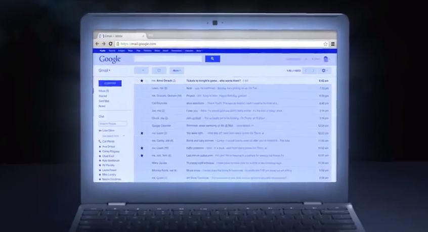 Gmail todo na cor azul, a escrita, as fontes, avatares, tudo azul (Foto: Divulgação)