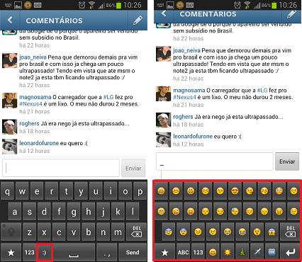 Inserindo emoticons no Instagram em um aparelho Android (Foto: Aline Jesus/Reprodução) (Foto: Inserindo emoticons no Instagram em um aparelho Android (Foto: Aline Jesus/Reprodução))