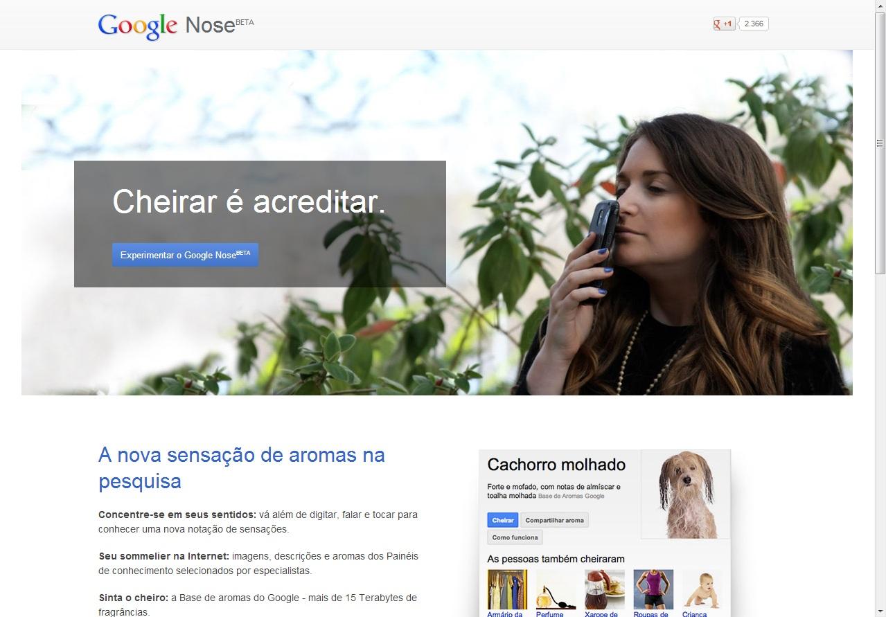 Apesar de ser brincadeira, a divulgação do Google Nose tem uma versão toda em português (Foto: Reprodução/ Google Nose)