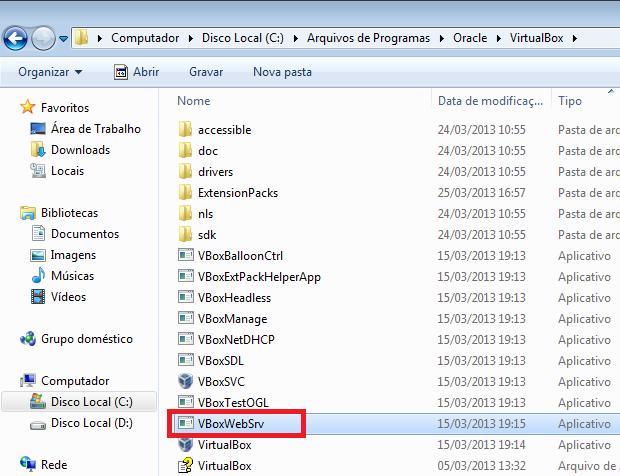 Executando o servidor web do VirtualBox (Foto: Reprodução/Edivaldo Brito)