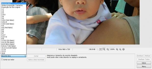 """Lista de opções da ferramenta """"Cortar"""" (Foto: Reprodução/ Raquel Freire)"""