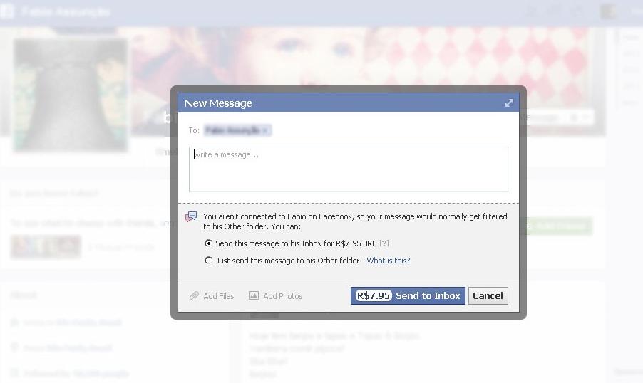 envio de mensagens à desconhecidos no Facebook passou a ser pago no