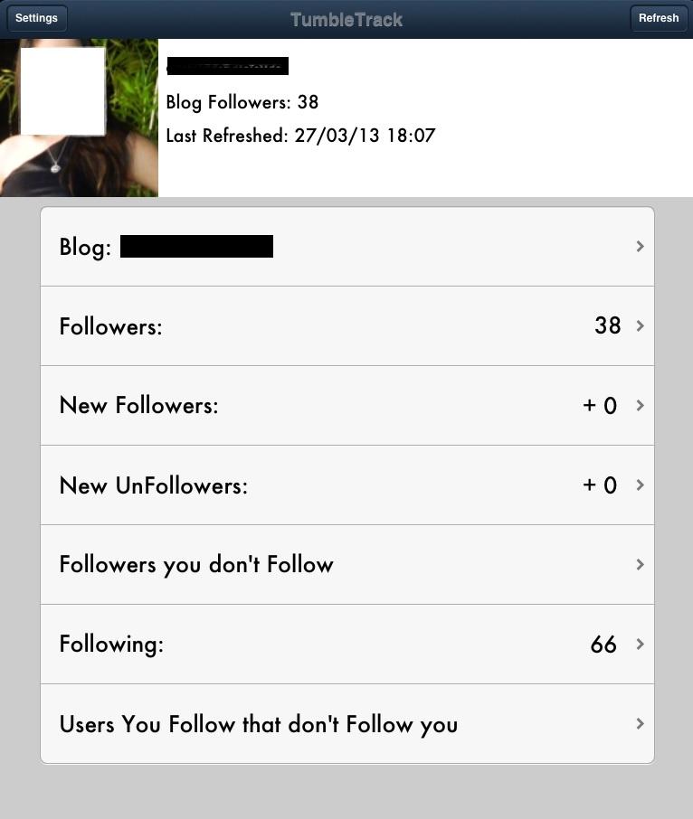 Página do aplicativo TumbleTrack com as pessoas que não te seguem no Tumblr (Foto: Reprodução/Carolina Ribeiro)