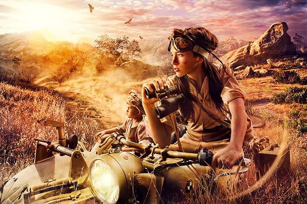 Imagem de mulher e criança em motocicleta militar (Foto: Dave Hill)