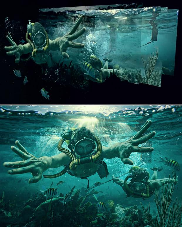 Imagem das camadas criadas na composição, acima, e imagem final, abaixo (Foto: Dave Hill)