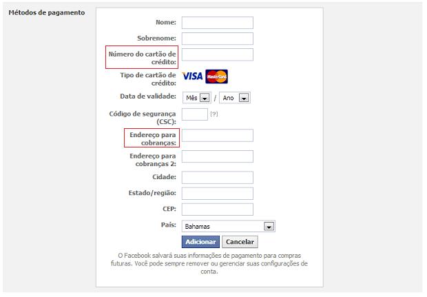 Facebook pede dados pessoais e endereço válido de cobrança para cadastrar cartão de crédito (Foto: Reprodução / Melissa Cruz)