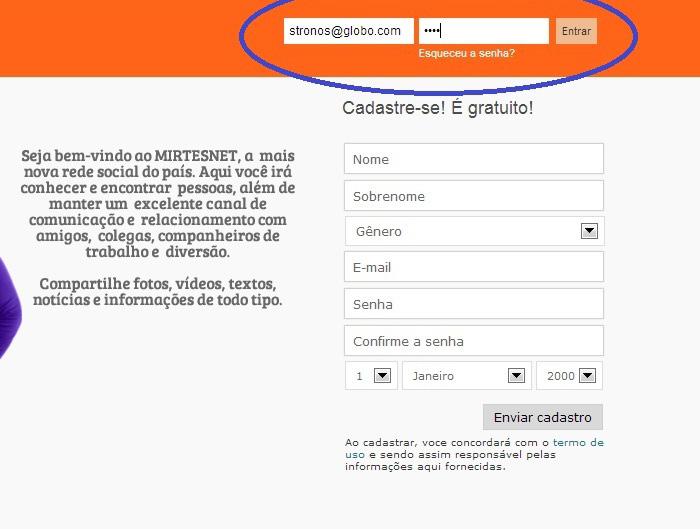 Conclua o cadastro e envie suas informações (Foto: Reprodução/Mirtesnet)