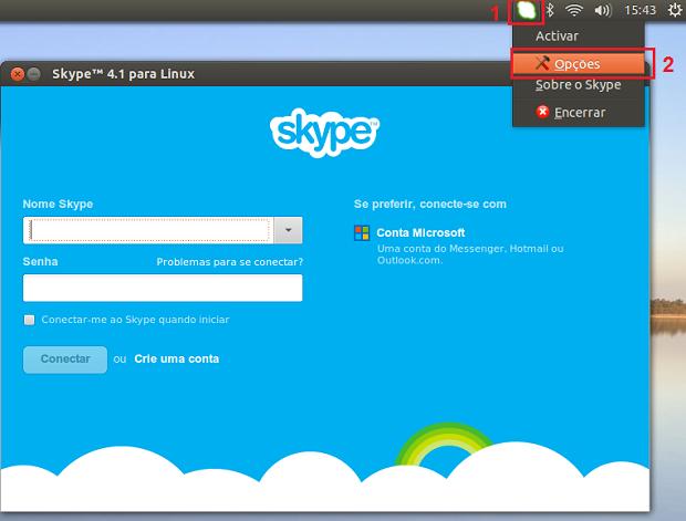"""Acessando as """"Opções"""" do Skype (Foto: Reprodução/Edivaldo Brito)"""