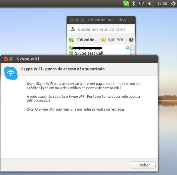 Skype WiFi lertando sobre rede incompatível  (Foto: Reprodução/Edivaldo Brito)