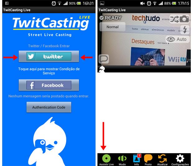 Twitcasting traz, na tela inicial, a opção de compartilhamento no Twitter e no Facebook (Foto: Aline Ferreira/TechTudo)