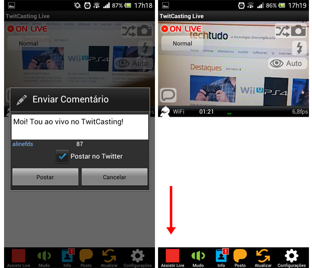 Twitcasting Live oferece a opção de publicar mensagens ao iniciar uma transmissão (Foto: Aline Ferreira/TechTudo)