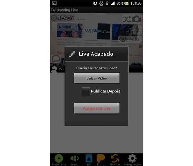 Com o Twitcasting Live, é possível salvar ou apagar a sua transmissão (Foto: Aline Ferreira/TechTudo)