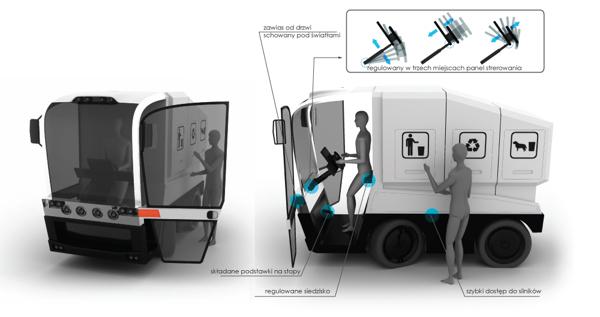 O desenho do assento do motorista foi pensando de uma forma prática e eficiente para otimizar seus serviços (Foto: Reprodução/ Yanko Design)