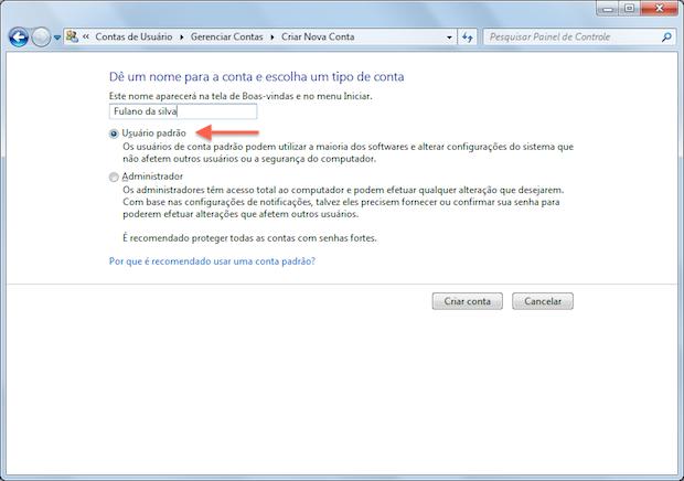 Configurando conta limitada (Foto: Reprodução/Helito Bijora)
