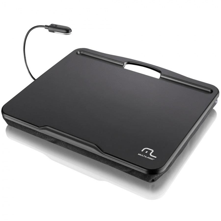 Este versátil e confortável apoio para notebook ainda conta com uma pequena luminária de LED (Foto: Divulgação/ Multilaser)