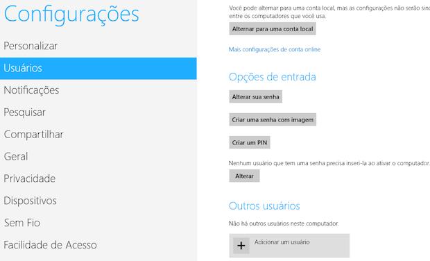 Configurações de usuários (Foto: Reprodução/Helito Bijora)