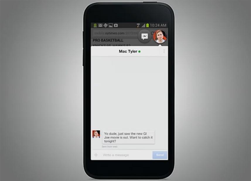 Experiência Home permite trocar mensagens sem sair de outros aplicativos (Foto: Reprodução/Facebook)