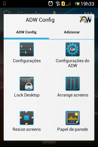 Opções do ADW Launcher para modificar a aparência do Android (Foto: TechTudo)