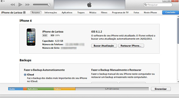 "Aba ""Resumo"" do iTunes exibe as configurações do iPhone (Foto: Larissa Ferreira/TechTudo)"