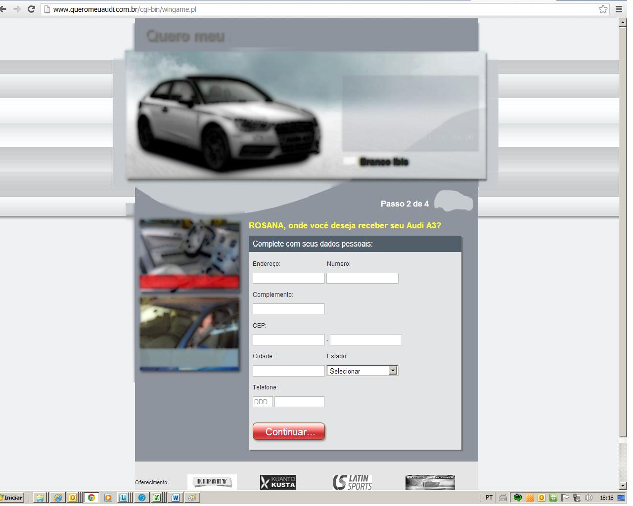 A página solicitava dados pessoais e questionava sobre o uso de cartões de créditos (Foto: Reprodução/TechTudo)