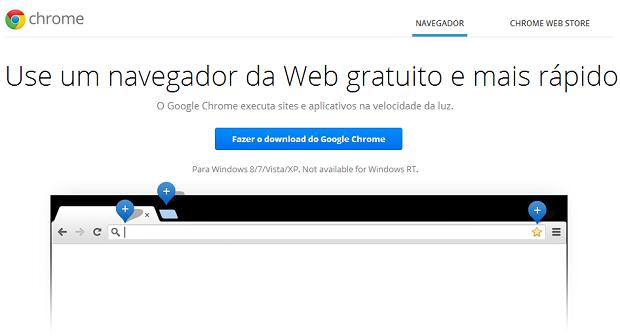 Chrome pode ser baixado de graça e em português (Foto: Reprodução Thiago Barros)