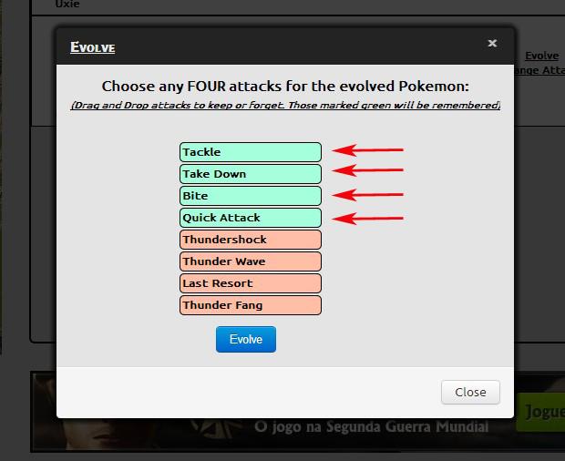 Escolhendo ataques (Foto: Reprodução / TechTudo)