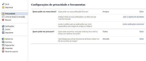 Privacidade no Facebook tem que ser configurada corretamente (Foto: Reprodução Thiago Barros)